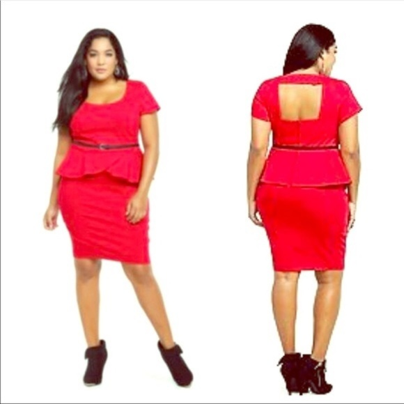Torrid Peplum Dress Plus Size 20 Cap Sleeve Red